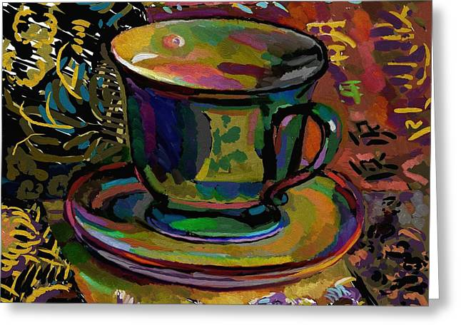 Greeting Card featuring the digital art Teacup Study 1 by Clyde Semler