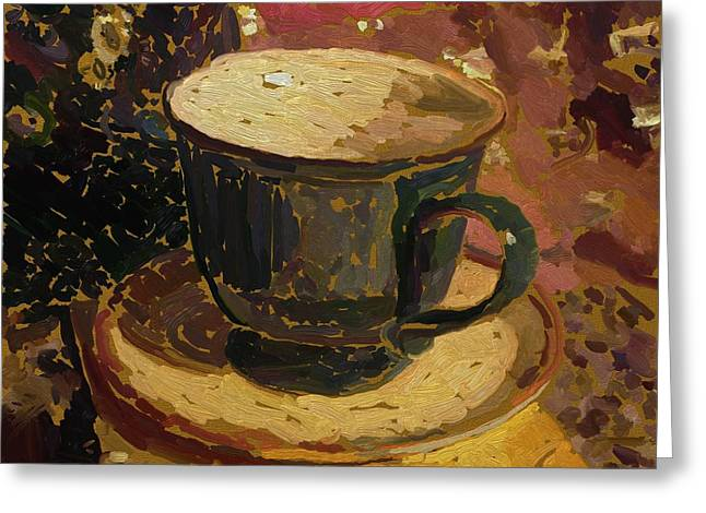 Greeting Card featuring the digital art Teacup Study 2 by Clyde Semler