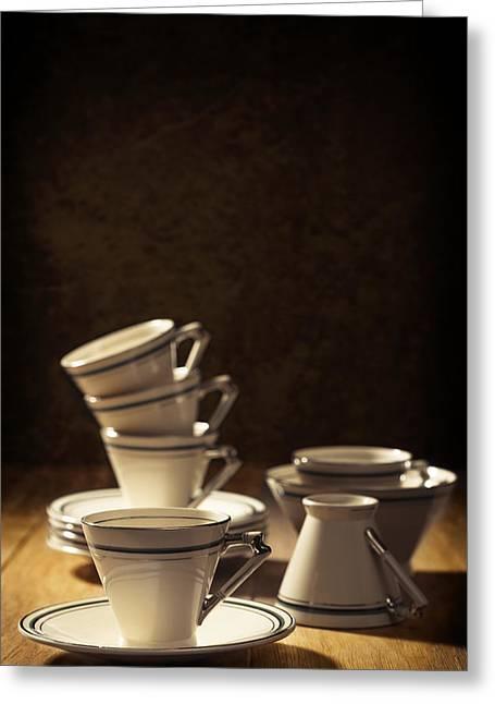 Teacups Greeting Card by Amanda Elwell