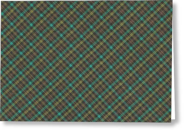 Teal And Green Diagonal Plaid Pattern Fabric Background Greeting Card by Keith Webber Jr