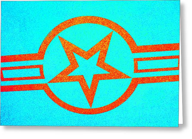 Teal And Rust Fighter Star Greeting Card by Holly Blunkall