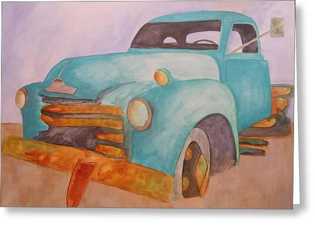 Teal Chevy Greeting Card