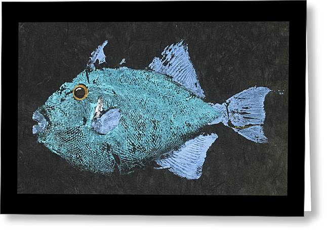 Gyotaku Triggerfish Greeting Card by Captain Warren Sellers