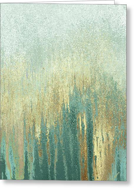 Teal Golden Woods Greeting Card