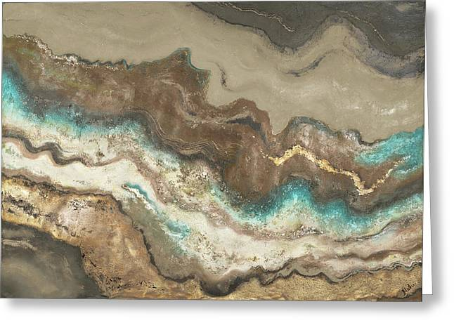 Teal Lava Flow Greeting Card by Patricia Pinto