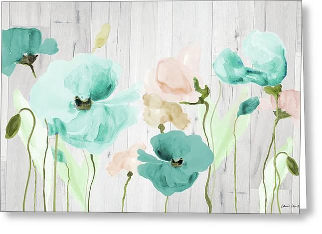 Teal Poppies On Wood Greeting Card by Lanie Loreth