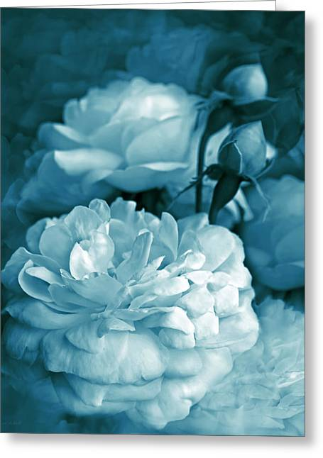 Teal Blue Roses Bouquet Greeting Card by Jennie Marie Schell