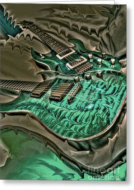 Teal Steel Digital Guitar Art By Steven Langston Greeting Card by Steven Lebron Langston