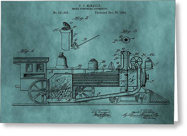 Teal Train Patent Greeting Card by Dan Sproul