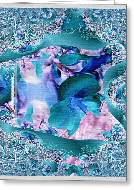 Teal Turquois Flower Greeting Card