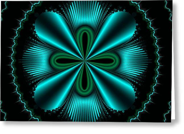 Teal Wheel Mandelbrot Greeting Card by Faye Symons