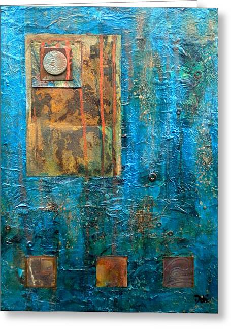 Teal Windows Greeting Card by Debi Starr