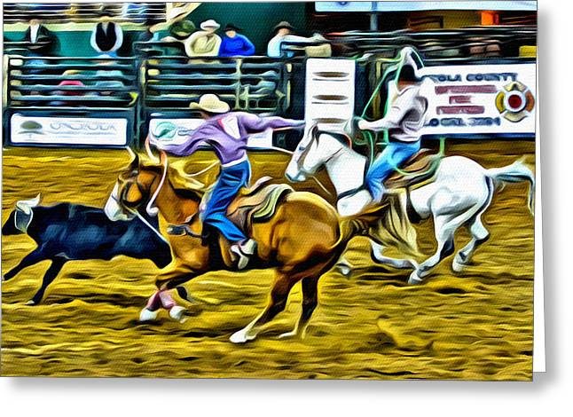 Team Ropers Greeting Card by Alice Gipson