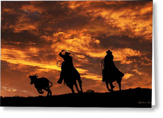 Team Roping At Sunset Greeting Card by Stephanie Laird