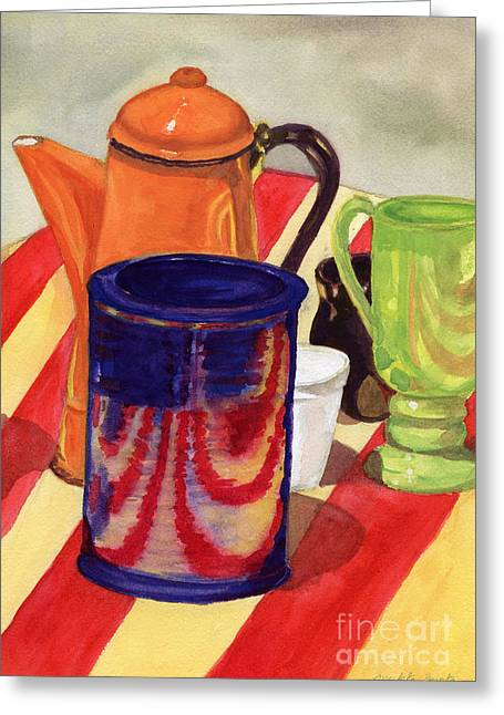 Greeting Card featuring the painting Teapot And Cup Still Life by Mukta Gupta