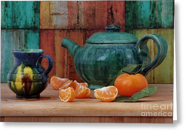 Teapot And Tangerine Greeting Card by Luv Photography