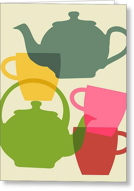 Teapot And Teacups Greeting Card