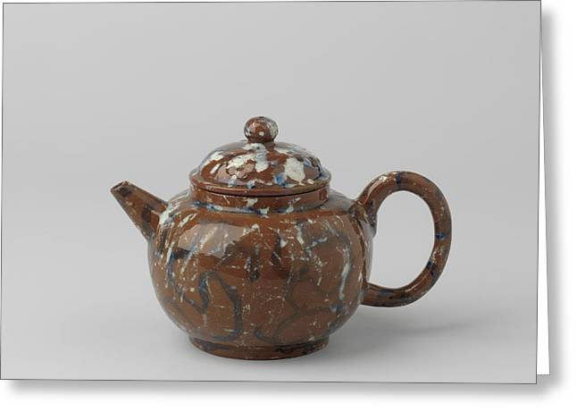 Teapot With Lid, Blue-white Marbled. The Lid Features Three Greeting Card by Quint Lox