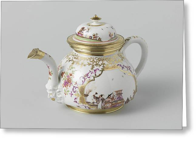 Teapot With Lid, Multicolor Painted With Chinoiserie Greeting Card