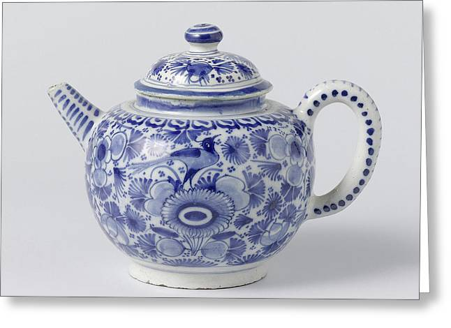Teapot With Lid Of Blue Painted Faience, On Foot Ring Greeting Card