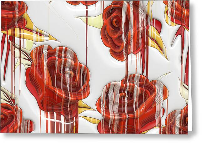 Tear-stained Roses Greeting Card by Liane Wright
