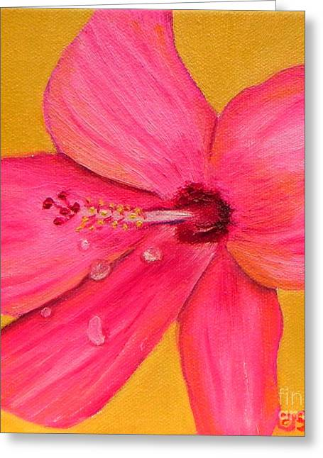 Greeting Card featuring the painting Teardrops - Pink Hibiscus Flower by Shelia Kempf