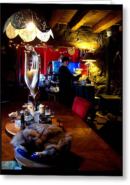 Greeting Card featuring the photograph Teatime In The Lodge by Susanne Still