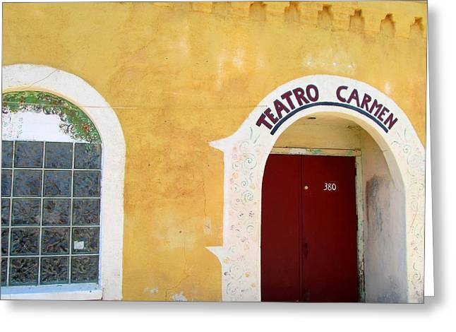 Greeting Card featuring the photograph Teatro Carmen by Brenda Pressnall