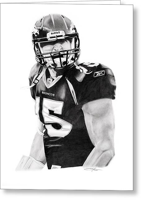 Tebow Greeting Card by Don Medina