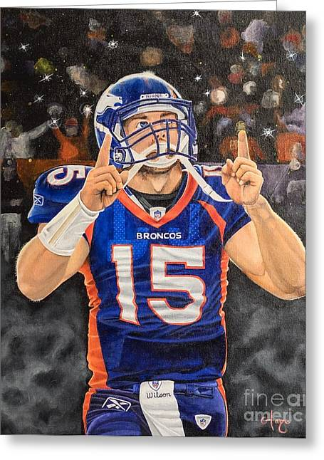 Tebow Moment Greeting Card by Justin Austin