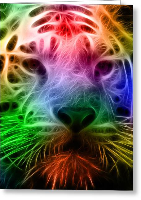 Techicolor Tiger Greeting Card by Ricky Barnard