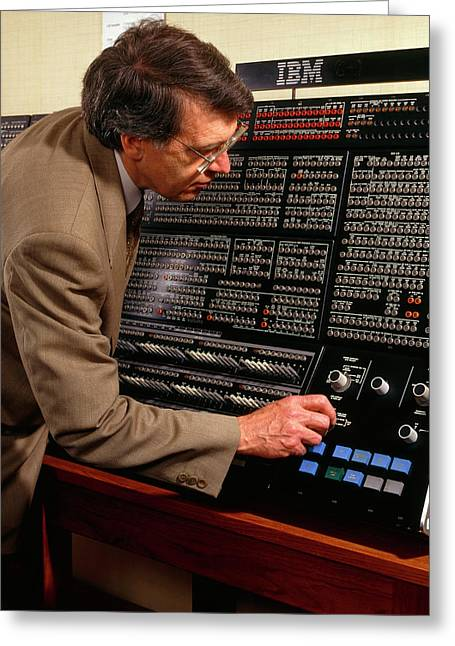 Technician At Console Of Ibm 360/195 Computer:1971 Greeting Card
