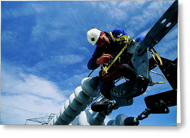 Technician Servicing A Power Line Insulator Greeting Card