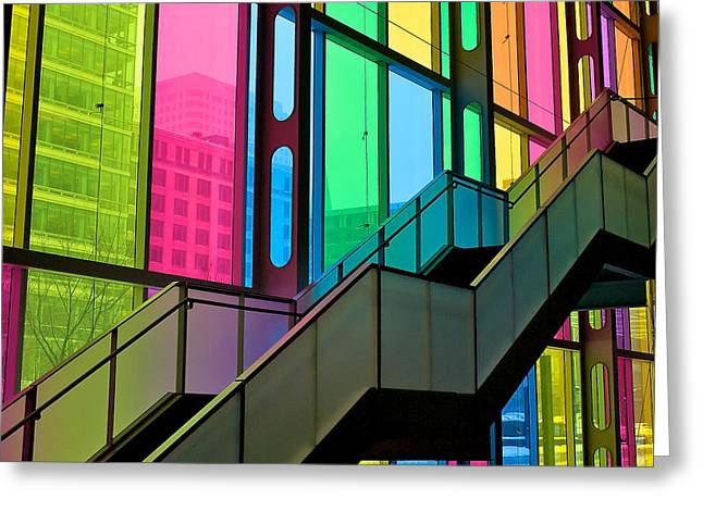 Greeting Card featuring the photograph Technicolour Stairway by Trever Miller