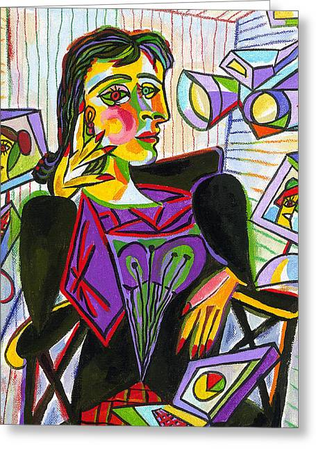 Technology And Picasso Greeting Card by Leon Zernitsky