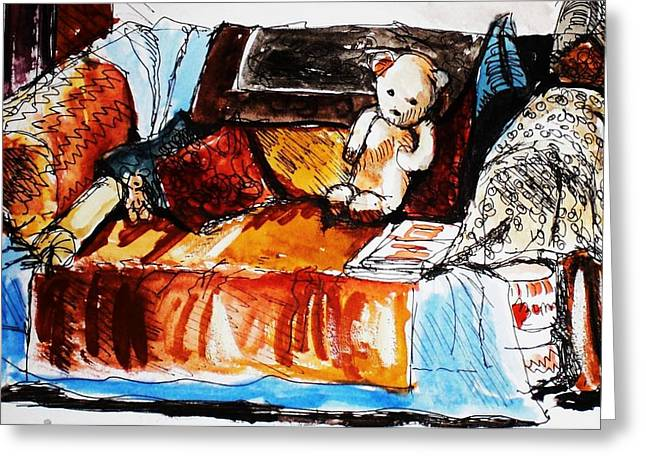 Ted On The Sofa Greeting Card by Anne Parker