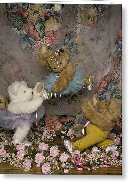 Teddy Bear Ballet Greeting Card by Mary J Tait