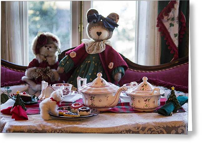 Teddy Bear Tea Party Greeting Card by Patricia Babbitt