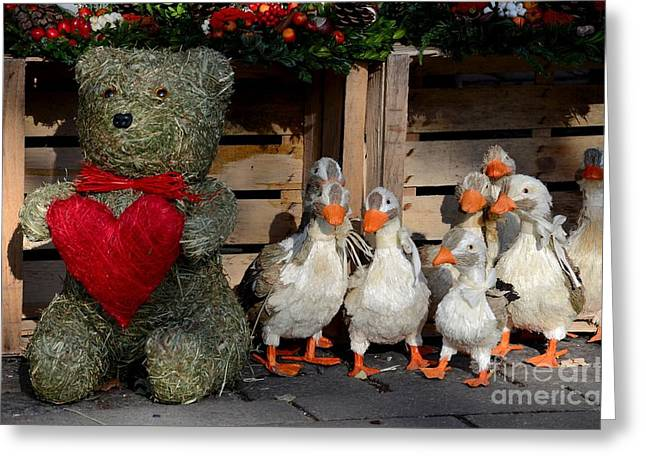 Teddy Bear With Flock Of Stuffed Ducks Greeting Card by Imran Ahmed
