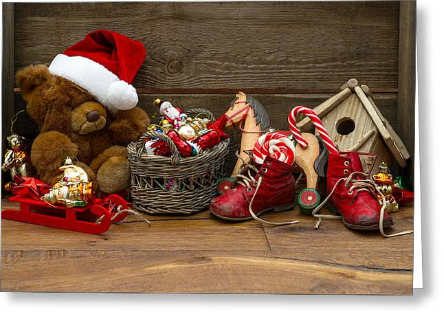 Teddy Bears At Christmas Greeting Card by Doc Braham