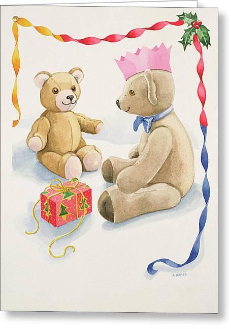 Teddy Bears Parcel Greeting Card by Lavinia Hamer