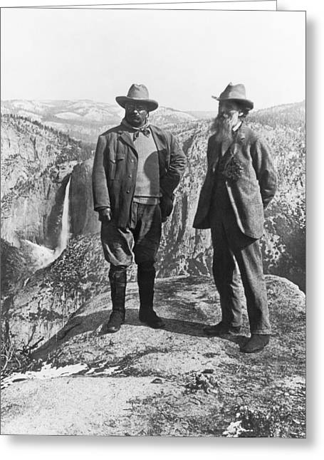 Teddy Roosevelt And John Muir Greeting Card by Underwood Archives
