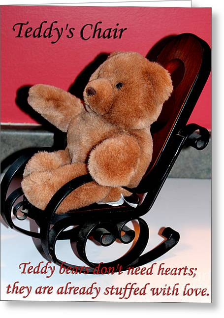 Teddy's Chair - Toy - Children Greeting Card by Barbara Griffin