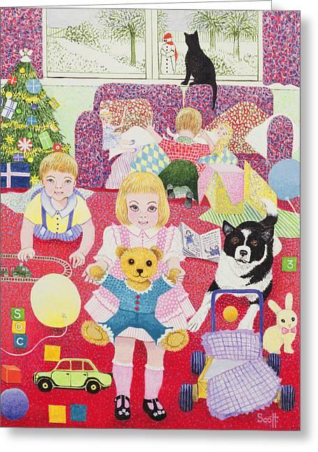 Teddys Christmas Pyjamas Greeting Card by Pat Scott