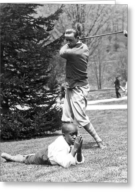 Teeing Off Head Of Caddy Greeting Card by Underwood Archives