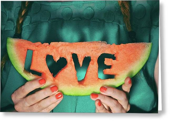 Teen With Watermelon Slice Greeting Card