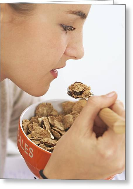 Teenage Girl Eating Cereal Greeting Card