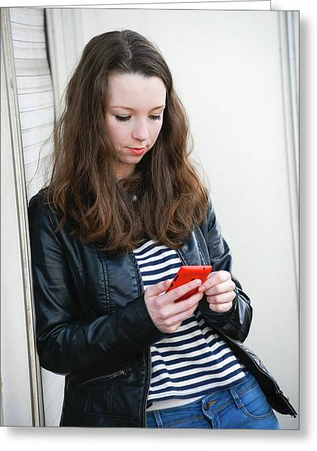 Teenage Girl Text Messaging Greeting Card