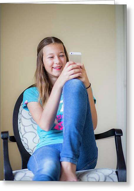 Teenage Girl Using Smartphone Greeting Card