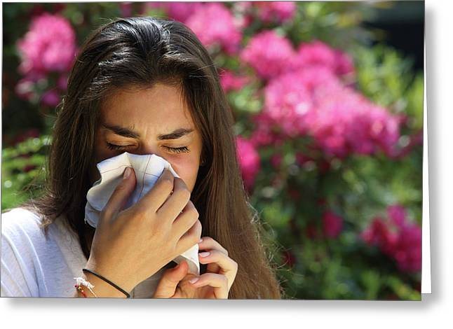 Teenage Girl With Hayfever Greeting Card